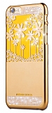 Joyroom Flower iPhone 6 / 6S Taşlı Gold Rubber Kılıf