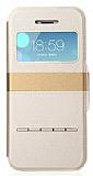 Joyroom iPhone 5 / 5S Tiffany Pencereli �nce Kapakl� Gold Deri K�l�f