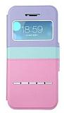 Joyroom iPhone 5 / 5S Tiffany Pencereli �nce Kapakl� Pembe Deri K�l�f