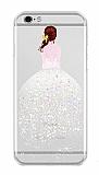 Joyroom iPhone 6 / 6S Kız Taşlı Beyaz Silikon Kılıf