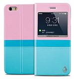 Joyroom iPhone 6 / 6S Tiffany Pencereli �nce Kapakl� Mavi Deri K�l�f