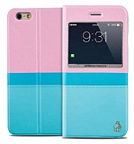 Joyroom iPhone 6 Plus / 6S Plus Tiffany Pencereli �nce Kapakl� Mavi Deri K�l�f