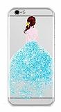 Joyroom iPhone 7 Kız Taşlı Mavi Silikon Kılıf