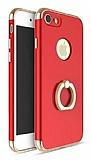 Joyroom iPhone 7 Selfie Yüzüklü Metal Kırmızı Rubber Kılıf