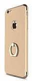 Joyroom iPhone 7 Selfie Y�z�kl� Metal Gold Rubber K�l�f