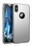 Joyroom iPhone X / XS 360 Derece Koruma Silver Rubber Kılıf