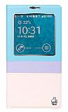 Joyroom Samsung N9000 Galaxy Note 3 Tiffany Uyku Modlu Pencereli Mavi Deri Kılıf