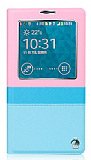 Joyroom Samsung N9000 Galaxy Note 3 Tiffany Uyku Modlu Pencereli Pembe Deri Kılıf
