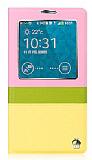 Joyroom Samsung N9000 Galaxy Note 3 Tiffany Uyku Modlu Pencereli Sarı Deri Kılıf
