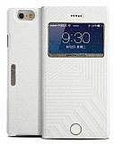 Joyroom Style iPhone 6 / 6S Pencereli Standlı Beyaz Deri Kılıf