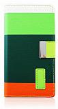 LG G2 Yeşil Turuncu Çizgili Standlı Cüzdanlı Kılıf