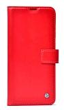 Kar Deluxe Oppo A92 Cüzdanlı Yan Kapaklı Kırmızı Deri Kılıf