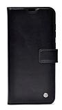 Kar Deluxe Samsung Galaxy A12 Cüzdanlı Yan Kapaklı Siyah Deri Kılıf
