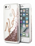 Karl Lagerfeld iPhone 7 / 8 Sulu Simli Rose Gold Rubber Kılıf