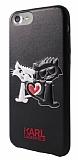 Karl Lagerfeld iPhone SE 2020 In Love Deri Siyah Rubber Kılıf