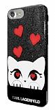 Karl Lagerfeld iPhone SE 2020 Kedili Siyah Simli Silikon Kılıf