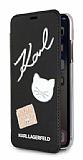 Karl Lagerfeld iPhone X Cüzdanlı Kapaklı Siyah Deri Kılıf