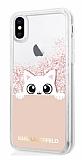 Karl Lagerfeld iPhone X Kedili Rose Gold Simli Silikon Kılıf