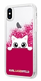 Karl Lagerfeld iPhone X Kedili Pembe Simli Silikon Kılıf