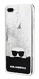 Karl Lagerfeld iPhone 7 Plus / 8 Plus Kedili Siyah Simli Silikon Kılıf