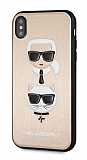 Karl Lagerfeld iPhone XS Max Deri Gold Rubber Kılıf
