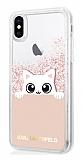 Karl Lagerfeld iPhone XS Max Kedili Rose Gold Sulu Simli Silikon Kılıf