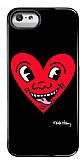 Keith Haring iPhone SE / 5 / 5S Red Heart Parlak Rubber Kılıf