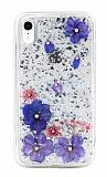 Kingxbar Floral iPhone XR Taşlı Pembe-Mor Silikon Kılıf