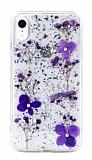 Kingxbar Floral iPhone XR Taşlı Mor Silikon Kılıf