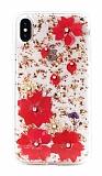 Kingxbar Floral iPhone XS Max Taşlı Kırmızı Silikon Kılıf