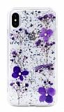 Kingxbar Floral iPhone XS Max Taşlı Mor Silikon Kılıf