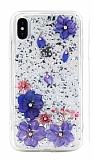 Kingxbar Floral iPhone XS Max Taşlı Pembe-Mor Silikon Kılıf