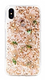 Kingxbar Floral iPhone XS Max Taşlı Gold Silikon Kılıf