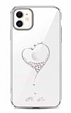 Kingxbar iPhone 11 Taşlı Kalpli Kristal Silver Kılıf