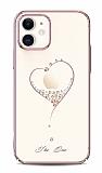 Kingxbar iPhone 11 Taşlı Kalpli Kristal Rose Gold Kılıf