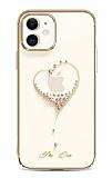 Kingxbar iPhone 11 Taşlı Kalpli Kristal Gold Kılıf