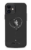 Kingxbar iPhone 11 Taşlı Kalpli Kristal Siyah Kılıf