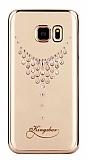 Kingxbar Samsung Galaxy S7 Damla Taşlı Kristal Gold Kılıf