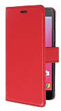 Lenovo K6 Note Cüzdanlı Yan Kapaklı Kırmızı Deri Kılıf