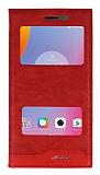 Lenovo K6 Note Gizli Mıknatıslı Pencereli Kırmızı Deri Kılıf