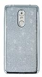 Lenovo K6 Note Simli Parlak Silver Silikon Kılıf