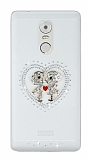 Lenovo K6 Note Taşlı Love Şeffaf Silikon Kılıf