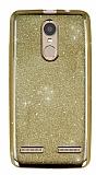 Lenovo K6 Simli Parlak Gold Silikon Kılıf