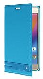 Lenovo P2 Gizli Mıknatıslı Yan Kapaklı Mavi Deri Kılıf