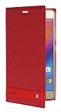 Lenovo P2 Gizli Mıknatıslı Yan Kapaklı Kırmızı Deri Kılıf