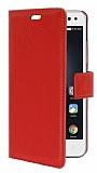 Lenovo Vibe S1 Cüzdanlı Yan Kapaklı Kırmızı Deri Kılıf