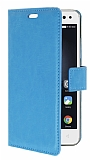 Lenovo Vibe S1 Cüzdanlı Yan Kapaklı Mavi Deri Kılıf