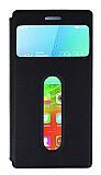 Lenovo Vibe X2 �ift Pencereli �nce Yan Kapakl� Siyah Deri K�l�f
