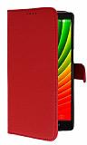 Lenovo Vibe Z2 Pro Cüzdanlı Yan Kapaklı Kırmızı Deri Kılıf