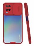 Lens Thin Oppo A54 Kamera Korumalı Kırmızı Silikon Kılıf